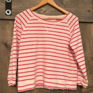 Calvin Klein pink/white Striped Jersey top small